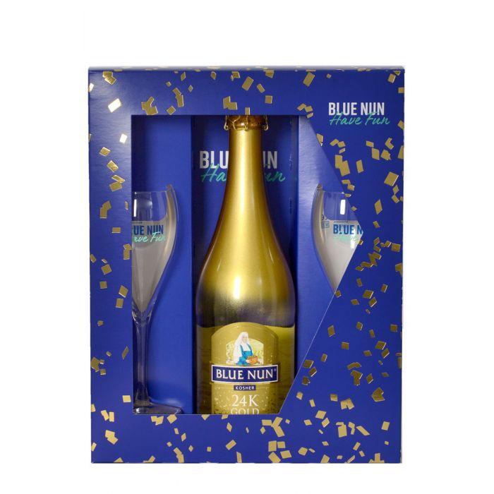 מארז בלו נאן זהב פלוס 2 כוסות 24k Blue Nun Gold